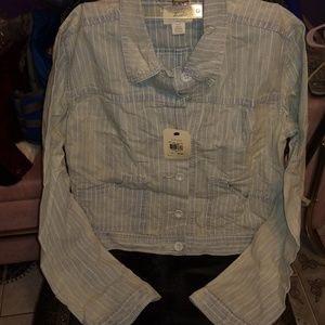Levis Crop Striped Trucker Jacket Shirt NWT